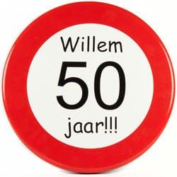 persoonlijk verkeersbord sarah abraham 50