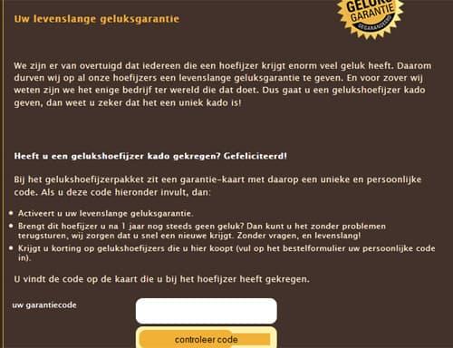 geluksgarantie website hoefijzer origineel