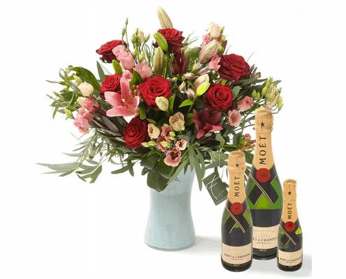rode bloemen champagne cadeau sarah abraham